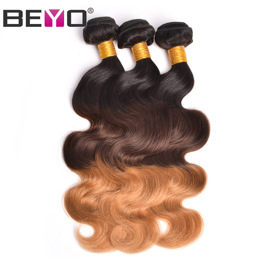 Beyo Hair Ombre Peruvian Body Wave Bundles 3 Tone Bundle Deals Human Hair Weave Bundles Non