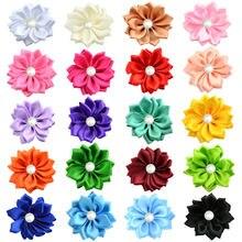 """Yundfly 16 """"120 шт шикарные цветы розочки из ленты с жемчужной"""