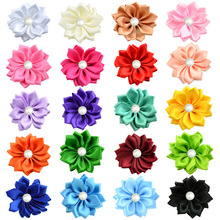 Yundfly 16 120pcs Chic Ribbon Rosette Flowers With Pearl Button Used for Diy Headband Clips Hair Accessories Decorations