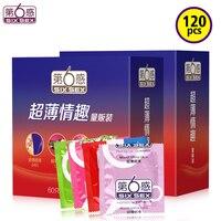Six Sex Bulk Condom 120Pcs Natural Latex Penis Sleeve Extender Ice Fire Ribbed Thin Slip Condoms Vibrating Cock Ring for Men