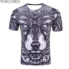 YUANHUIJIA Compression Shirt 2017 new listing Men's Wolf Totem 3D printing Fitness T-shirt Quick-drying short-sleeved Tights
