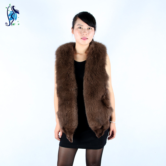 Real Fur Coat 2016 Hot V-neck New Fashion Women's Really High-quality Fox Fur Vest 100% Natural Pelt All-match Leisure Section