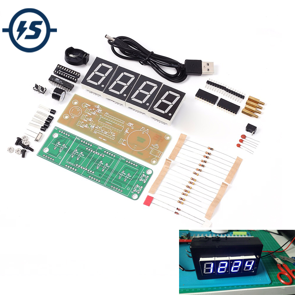 1 Inch 4-Bit Digital Tube LED Clock Kit LED Display Module Blue 4 Digit LED Display Alarm Clock Electronic DIY Kit For Arduino