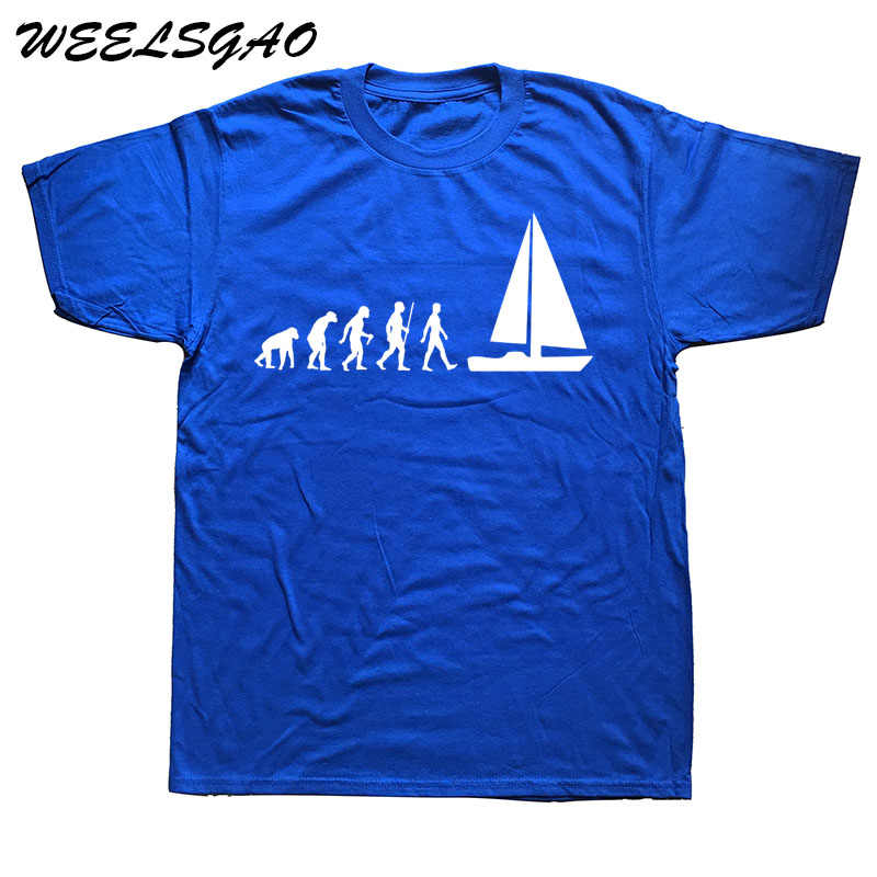 WEELSGAO Evolution Sail Boat T-shirt Men Summer Style Cotton Short Sleeve T Shirt Funny Tee Mans Top Clothing