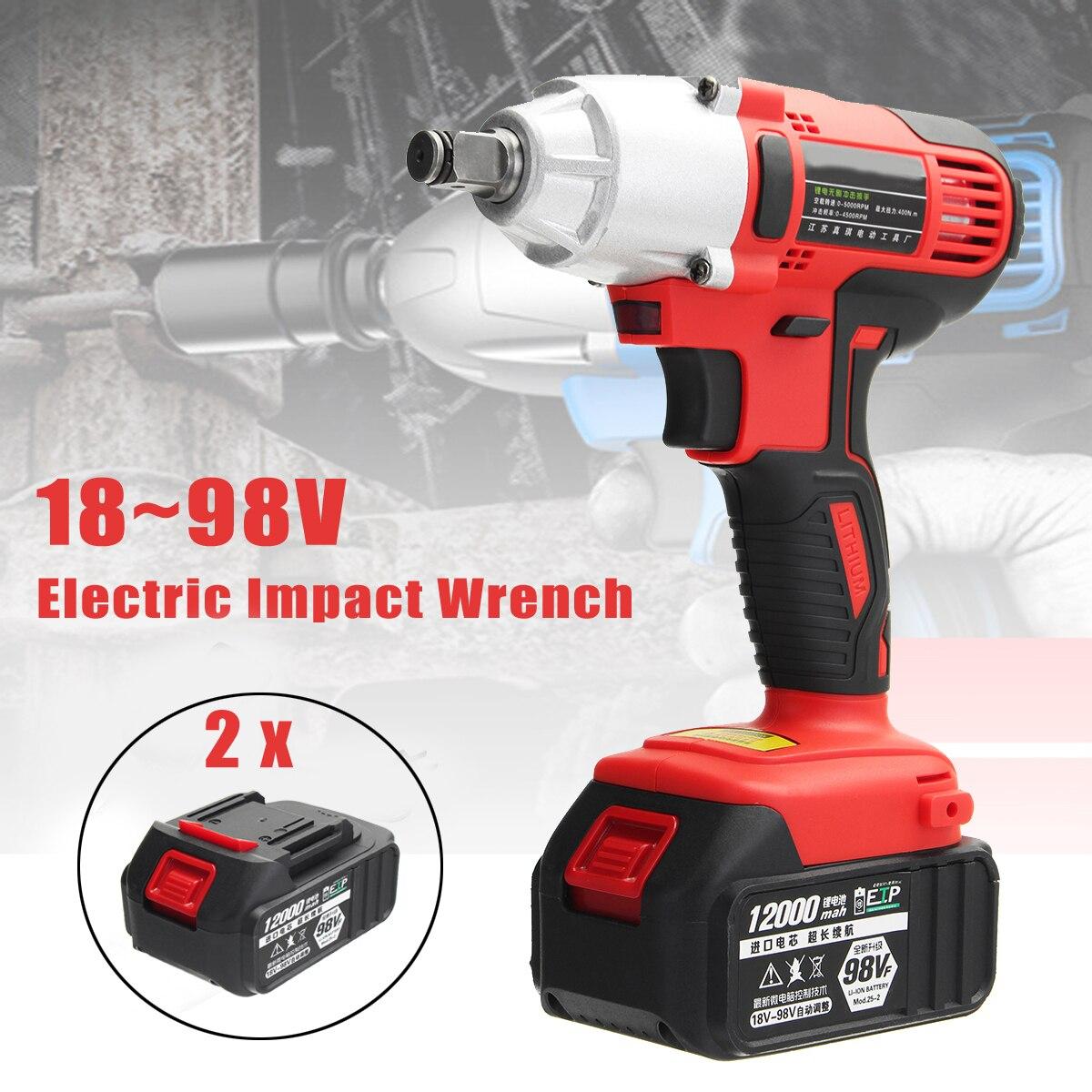 AC 100-240 V 12000 mah Avvitatore Elettrico 400Nm Lithium-Ion Cordless Impact Wrench 2 Batterie 1 Caricabatterie Strumento di potere