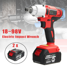 AC 100-240V 12000mah Electric Wrench 400Nm Lithium-Ion Cordless Impact Wrench 2 Batteries 1 Charger Power Tool