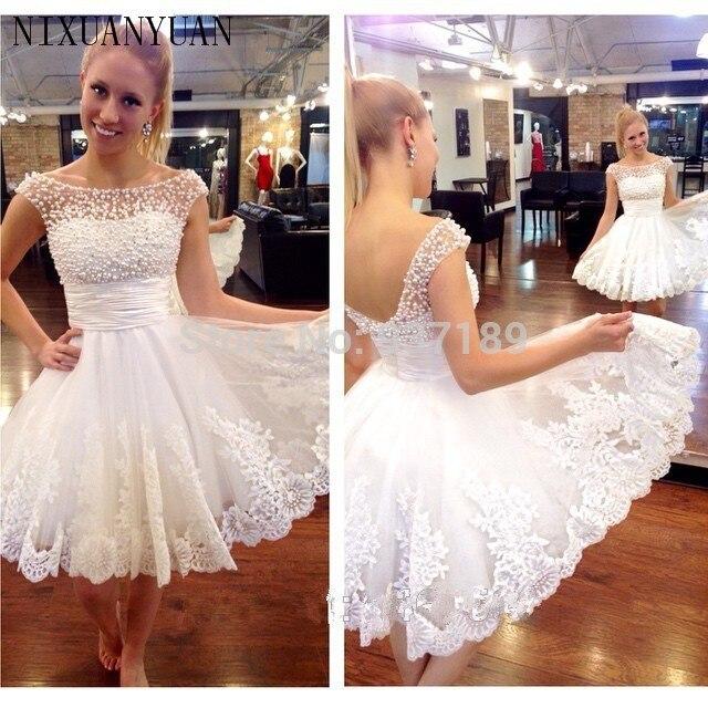 New white short wedding dresses the brides sexy lace wedding dress bridal gown plus size vestido de noiva real sample Платье