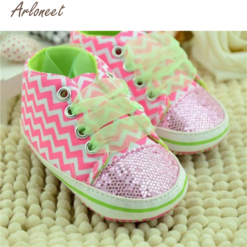 ARLONEET Fashion Baby Shoes Prewalker Toddler Boys Girls Striped Sequin Soft Floral Sneakers Shoes Oct19