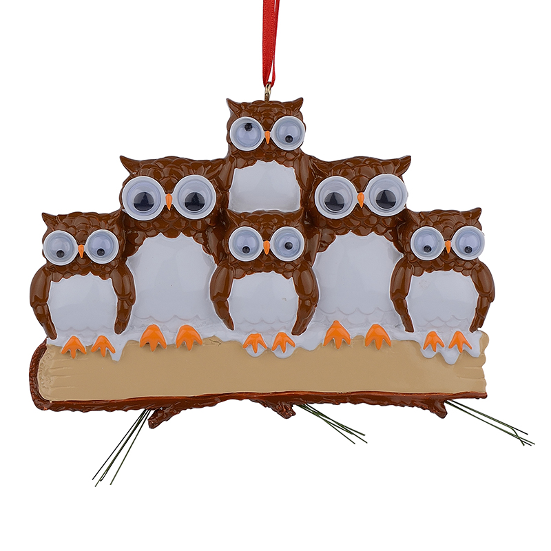 Maxora Brown Yellow Owl Family Of 5 Resin Glossy Personalized Christmas Ornaments PR279-5