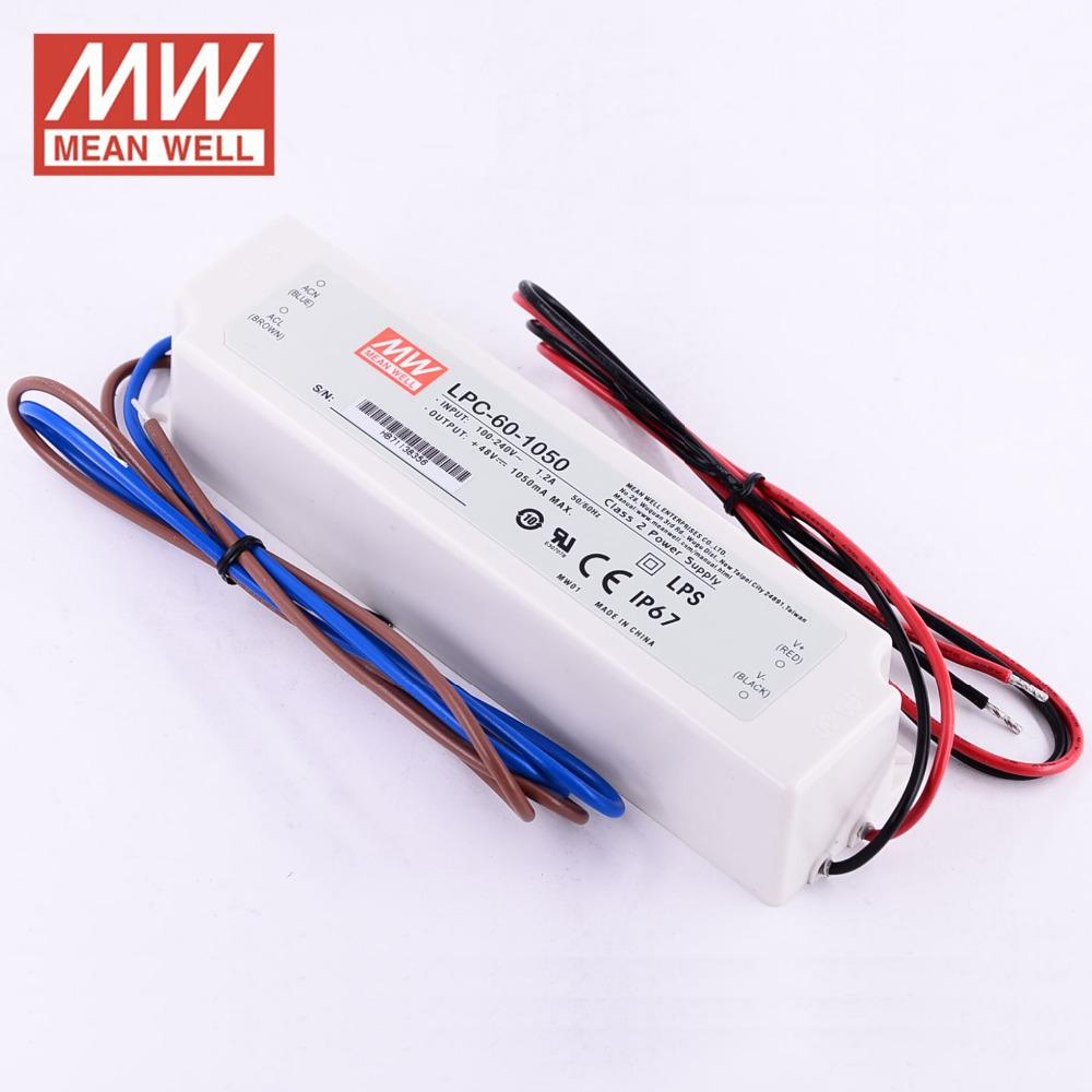 HTB1jcT4XM2DK1JjSZFKq6yYgVXaw - Meanwell LPC-60-1050 constant current led power supply 9-48VDC output 50.4W 1050mA waterproof driver for Led strip lighting