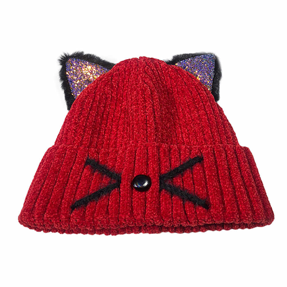 KANCOOLD Women Fashion Keep Warm Cat Ear Winter Hats Crochet Knitted Wool Hemming Hat Ski Beanie Skull Slouchy Caps PJ1006