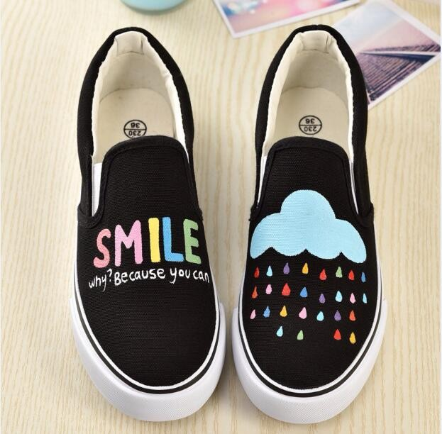 official photos 344b0 05e24 US $23.99 |Shoes Woman Flat Women Casual Board Shoes 2017 Summer Rihanna  Creepers Hand Painted Canvas Shoes Zapatillas De Mujer Gg Dress-in Women's  ...