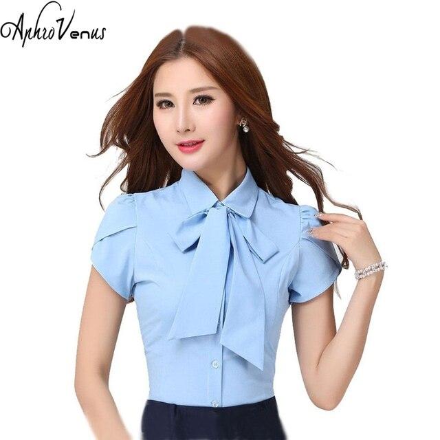 4c8e9d05d Mujer De Moda Plus Size Bow Tie Women Blouse Short Sleeve Blusas Office  Lady Tops Blue Chiffon Blouse Kimono OL Blusa Feminina-in Blouses   Shirts  from ...