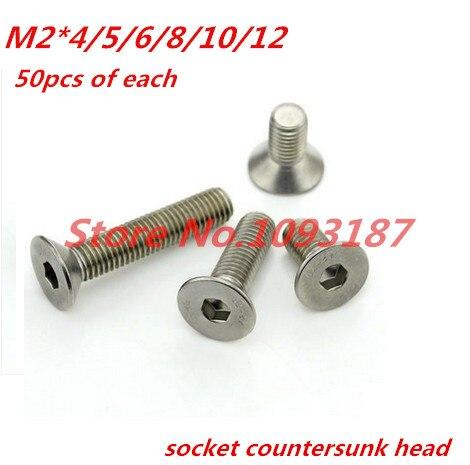 M2 304 Stainless Steel Allen Hex Socket Countersunk Flat Head Screw Bolt DIN7991