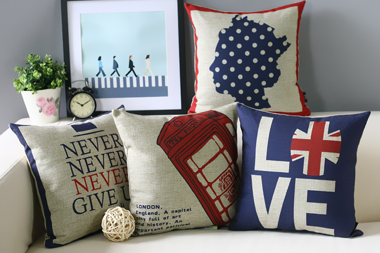 Linen Cotton Blend Union Jack Bus Telephone Booth Home Decor Pillow Cushion Decorative Sofa Cushions