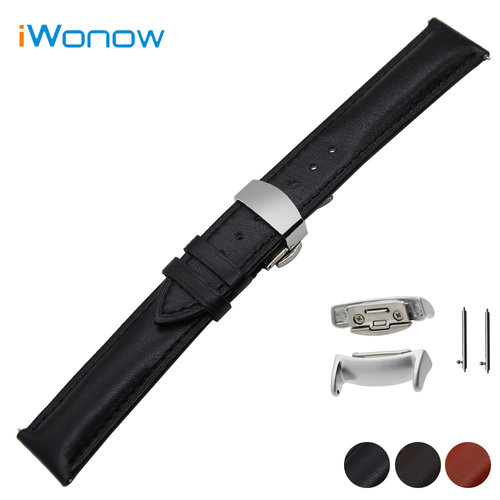Genuine Leather Watch Band 18mm for Samsung Gear Fit 2 SM-R360 Butterfly Buckle Strap Quick Release Wrist Bracelet + Adapters
