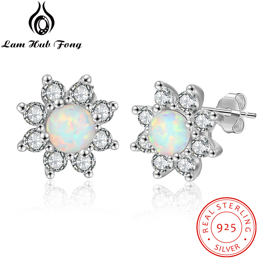 925 Sterling Silber Runde Opal Ohrringe Sonnenblumen Blossom Zirkonia Stud Ohrringe Für Frauen Sommer Schmuck (lam Hub Fong)