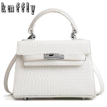 3f108716b257 2019 Модная белая женская квадратная сумка, качественная женская сумка из  искусственной кожи, вместительная мини-сумка из крокодиловой кожи, .