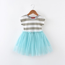 Mother Kids - Childrens Clothing - Godier Princess Striped Girls Dresses Wedding Party Kids Costume Vestido Summer Dress Evening Lace Ball Gown Baby Frocks Clothes