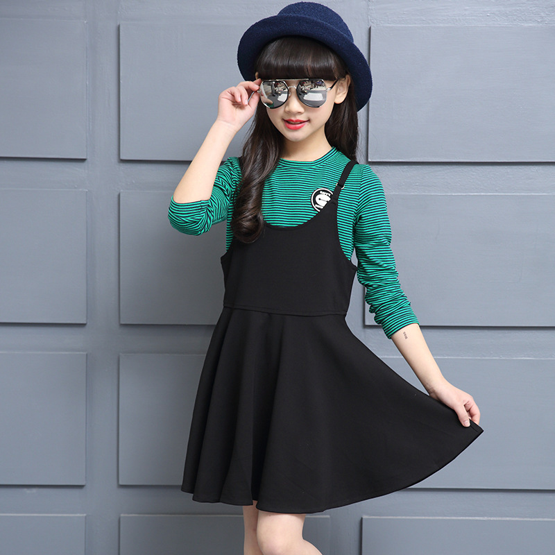 Girl Spring New Pattern Korean Rendering Unlined Upper Garment + Straps Stripe Twinset Children's Garment Two Pieces Kids Sets