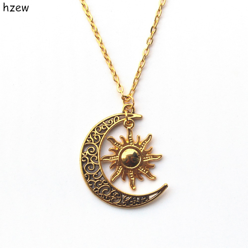 hzew Hippie Sun and crescent moon charm pendant necklace ...