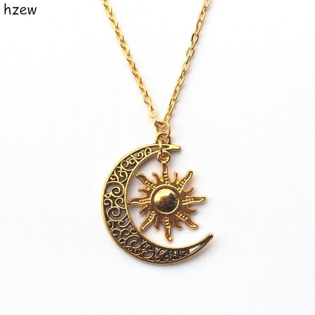 Aliexpress Buy Hzew Hippie Sun And Crescent Moon Charm Pendant
