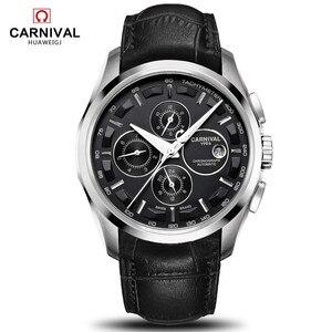 Image 1 - Relogio Masculinoใหม่Carnivalอัตโนมัตินาฬิกาผู้ชายผู้ชายนาฬิกาหนังกันน้ำ 8659Gนาฬิกาข้อมือSapphire