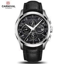 Relogio masculino חדש קרנבל אוטומטי שעונים גברים מכאני שעון עור רצועת מים התנגדות 8659G שעון יד ספיר