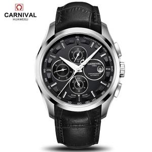 Image 1 - Relogio masculino חדש קרנבל אוטומטי שעונים גברים מכאני שעון עור רצועת מים התנגדות 8659G שעון יד ספיר
