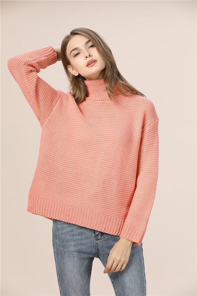 Casual Loose Autumn Winter Turtleneck Sweater Women Oversize Solid Knitted Sweaters Warm Long Sleeve Pullover Sweater Black Pink 10