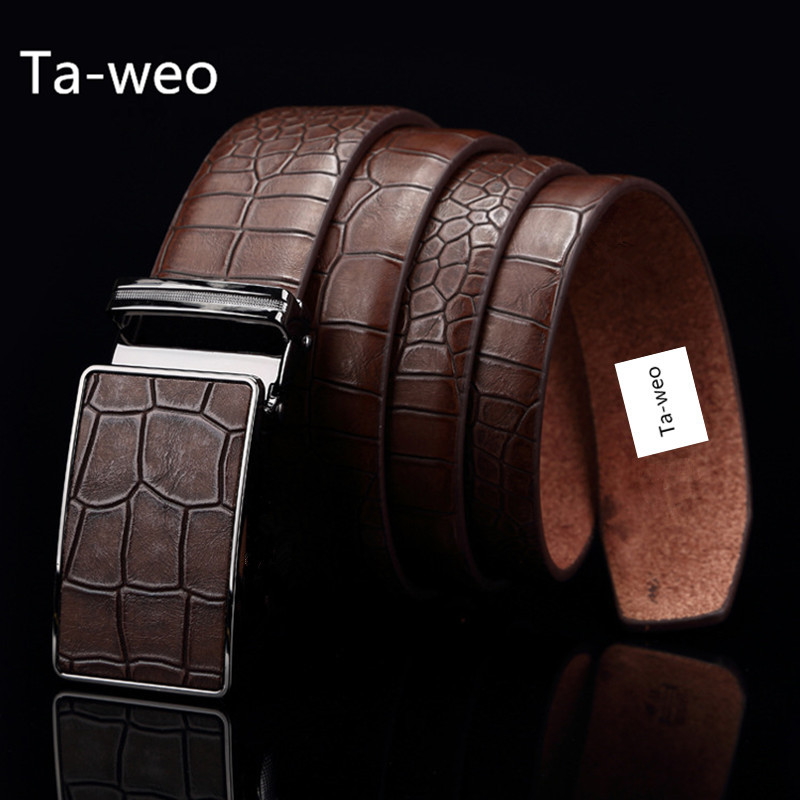 Ta-weo Casual Herr Leather Belts, Faux Crocodile Striped Strap, Automatiska Buckle Leather Belt Men Bra Kvalitet