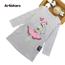 Girls Dresses Teenage Autumn Party Dress For Girls 2019 Winter Long Sleeve Cartoon Kids Dress For Girls 6 8 10 12 Years(China)