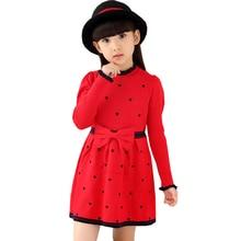 VORO BEVE 2017 Nouveau Enfants Chandail Robe Automne Hiver Filles Long Chaud Mode Princesse Robe Arc En Bas Âge Fille Vêtements