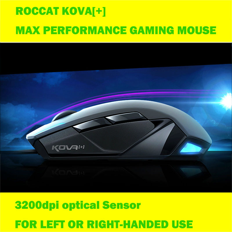 Roccat kova+ Wired USB Optical Gaming Mouse 3200dpi computer mouse for desktop laptop PC gamer dota2 lol motospeed v2 high precision usb 2 0 wired gaming optical mouse black