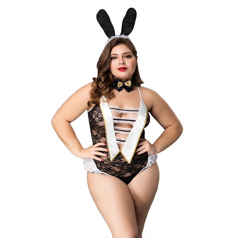 Hot Stretch Bunny Bodysuits Big Size Sexy Lingerie Sexy Hollow Out Lace Uniform For Women Erotic Underwear