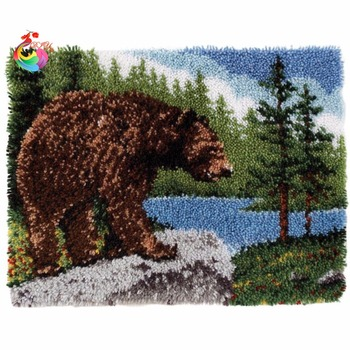 Latch Hook Kit Rug bear rugs Set for embroidery Big size110x78cm DIY Craft  Kits for embroidery set of crochet hooks
