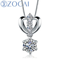 ZOCAI brand 0.65 CT CERTIFIED F G COLOR 18K white gold DIAMOND Pendant 925 STRLING SILVER CHAIN Necklace Fine Jewelry D04751