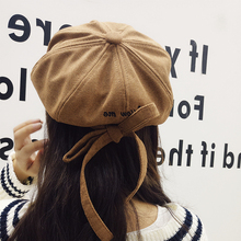 HT1438 Long strapped Women Beret Autumn Winter Octagonal Cap Hats Stylish Artist Painter Newsboy Caps Black Grey Pink