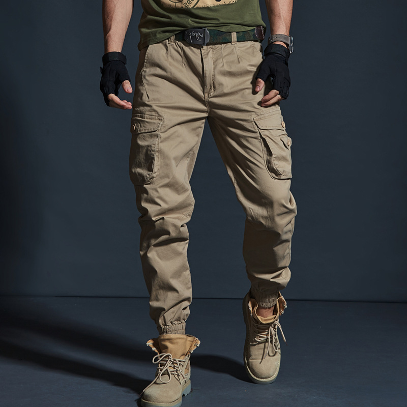 High Quality Khaki Casual Pants Men Military Tactical Joggers Camouflage Cargo Pants Multi-Pocket Fashions Black Army Trousers(China)