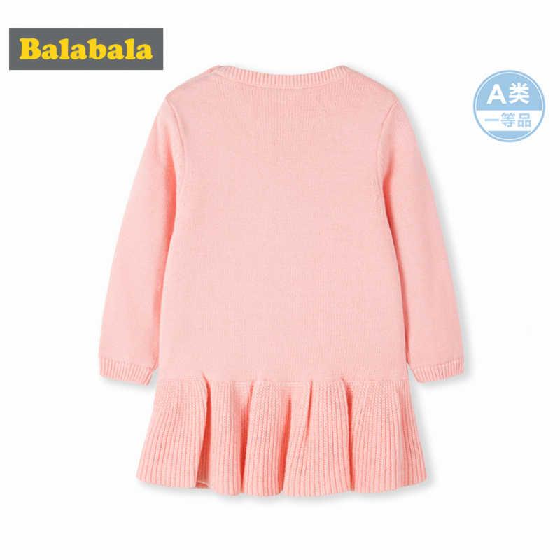 Balabala תינוקת 100% כותנה מרופד סוודר שמלת הצמד סגירת כתף לחורף יילוד תינוק סוודר + התלקח לסרוג