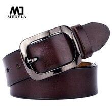 MEDYLA Взрывные модели дамский кожаный ремень с черной пряжкой 3,2 см ретро повседневный Дикий Женский ремень