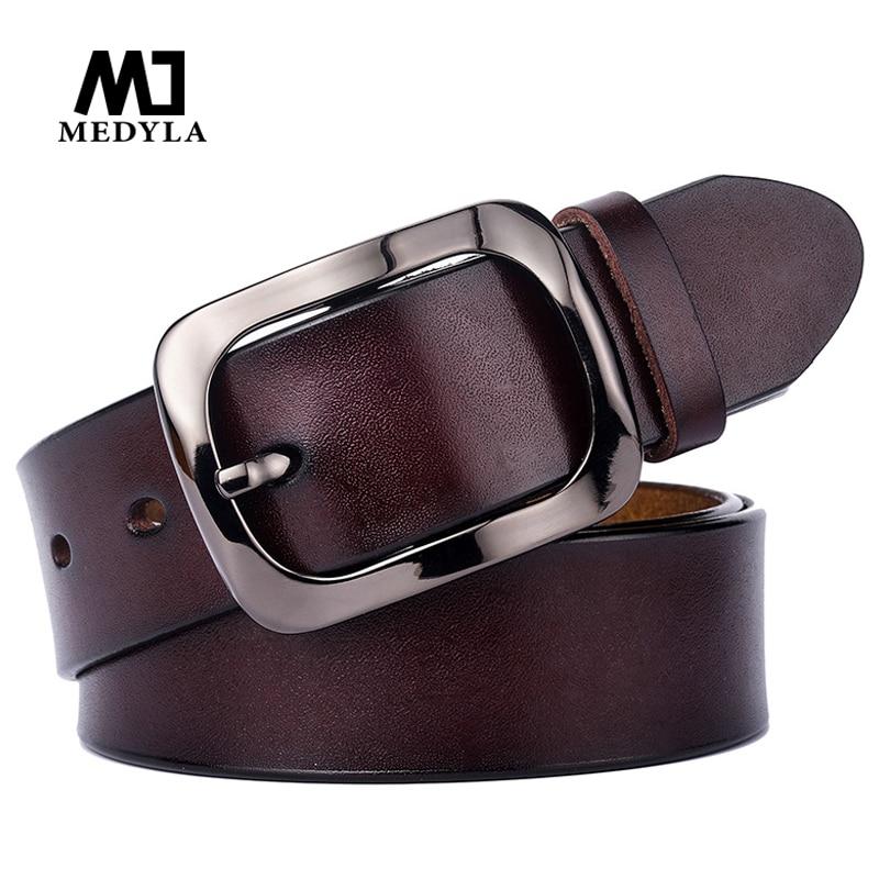 MEDYLA Explosion Models New Ladies Leather Belt Leather Belt Black Buckle 3.2 Cm Retro Casual Wild Women's Belt
