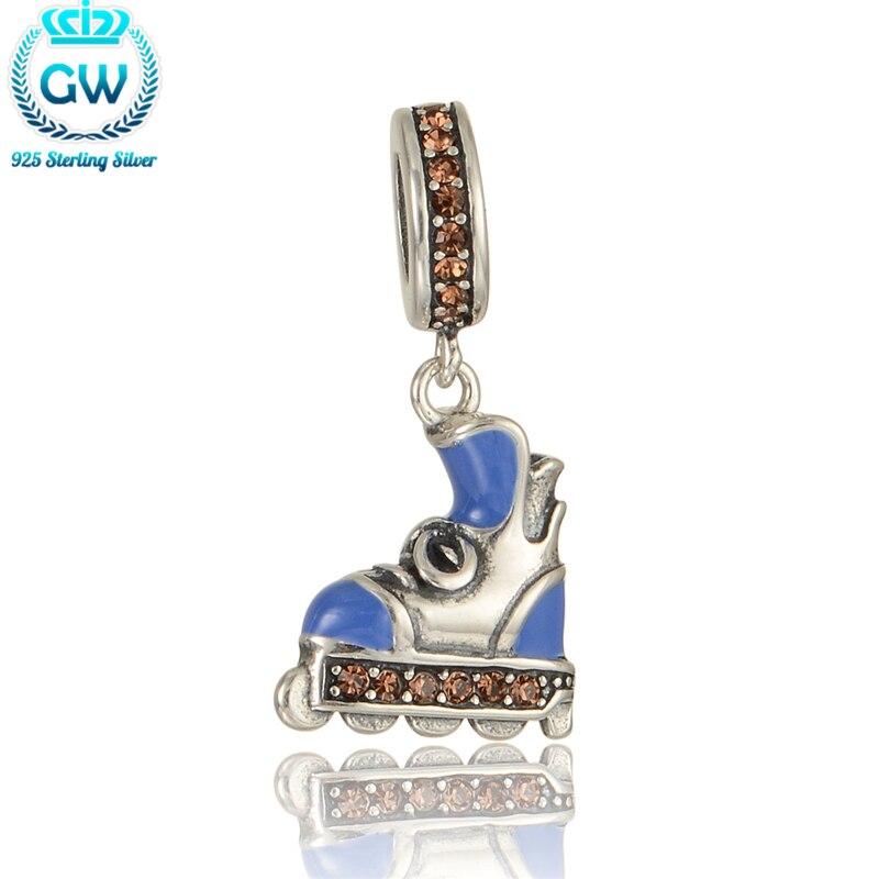 925-Sterling-Silver Roller Skates Charm Beads For Women Kid Children Boys Bracelets & Bangles Jewelry Findings & Comonents S286