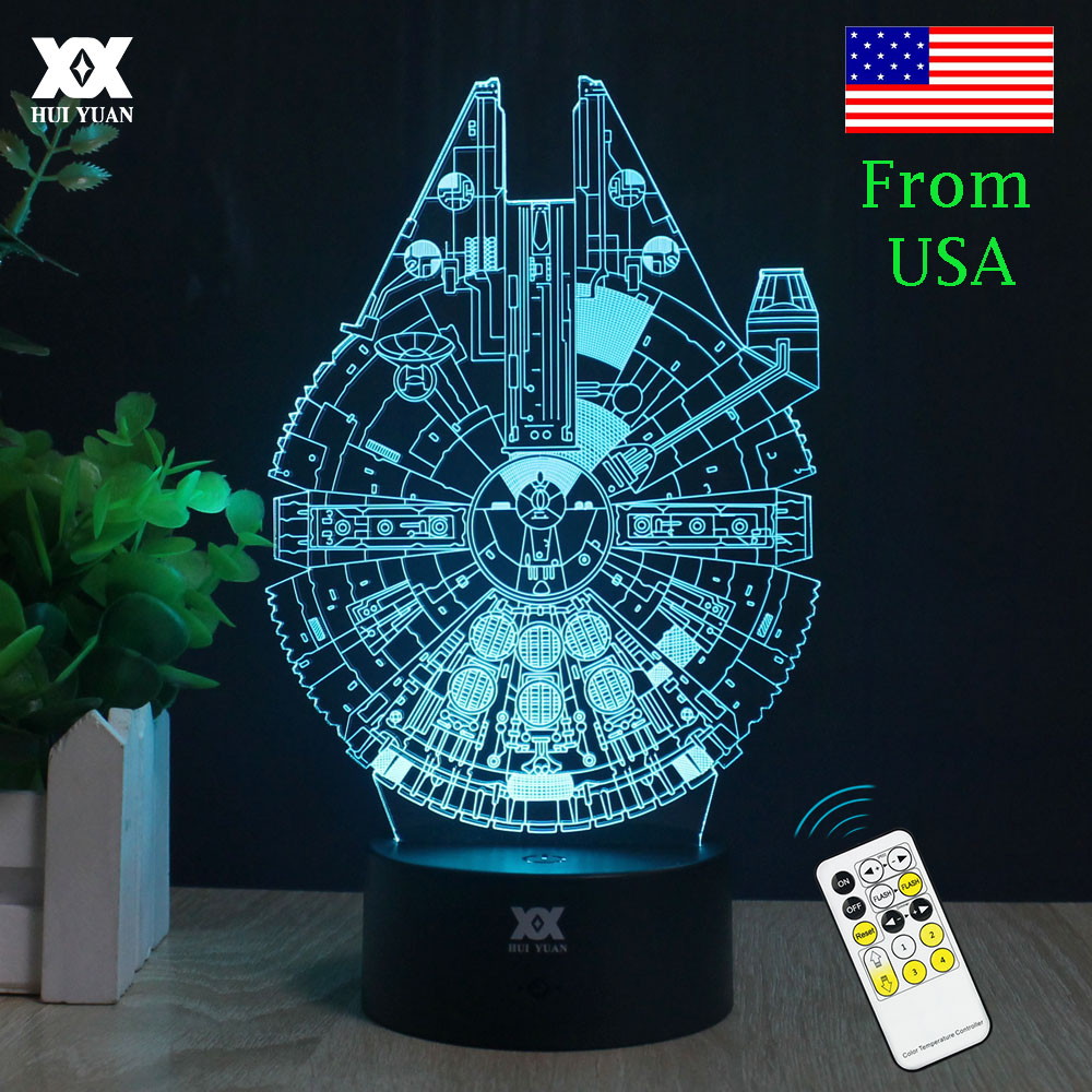decorative night lights wars millennium falcon 3d lamp led remote 30300