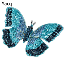 Yacq Butterfly Stretch Ring Scarf Clasp Summer Bling Fashion Jewelry Gifts Women Girls Crystal Gold Silver Color
