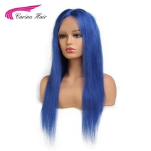 Carina Hair Brazilian Remy Human Hair Pure Blue Color Full Lace Wig Middle Part Straight Hair with Baby Hair Glueless Wigs