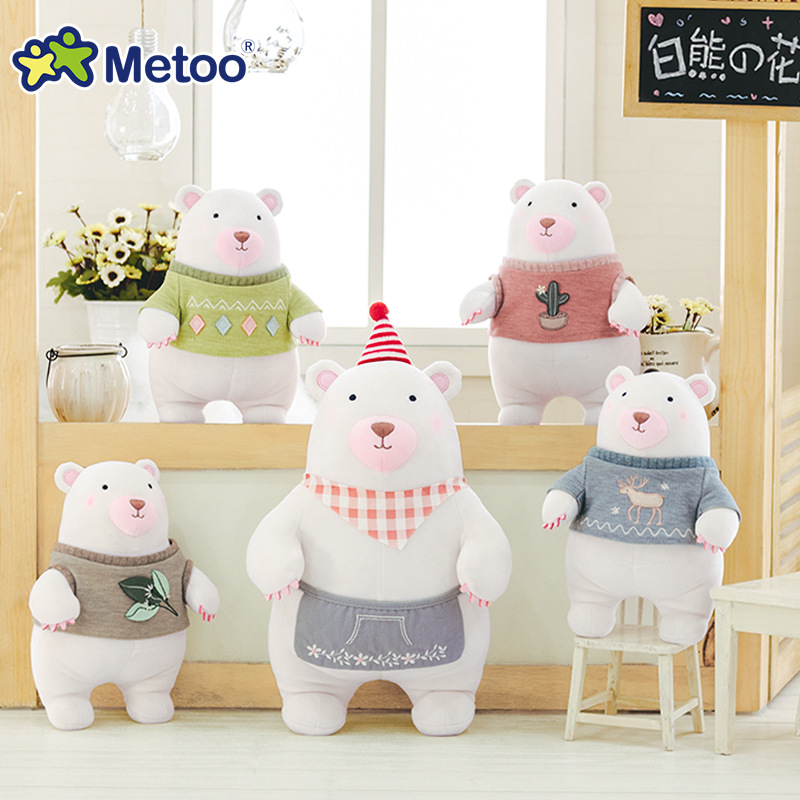 24cm Kawaii Bear Stuffed Plush Animals Cartoon Kids Toys for Girls Children Baby Birthday Christmas Gift Metoo Doll cute bulbasaur plush toys baby kawaii genius soft stuffed animals doll for kids hot anime character toys children birthday gift