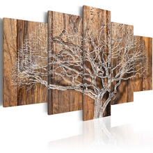 Framed 5 Panel Abstract tree Wall Art Oil Painting On Canvas Printed Pictures Decor painting living room/PJMT-8