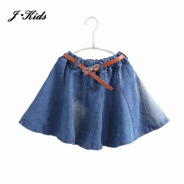 100-160cm teenage girls denim skirts 2016 new spring autumn washing cotton denim expansion skirt for children girls gift Sashes