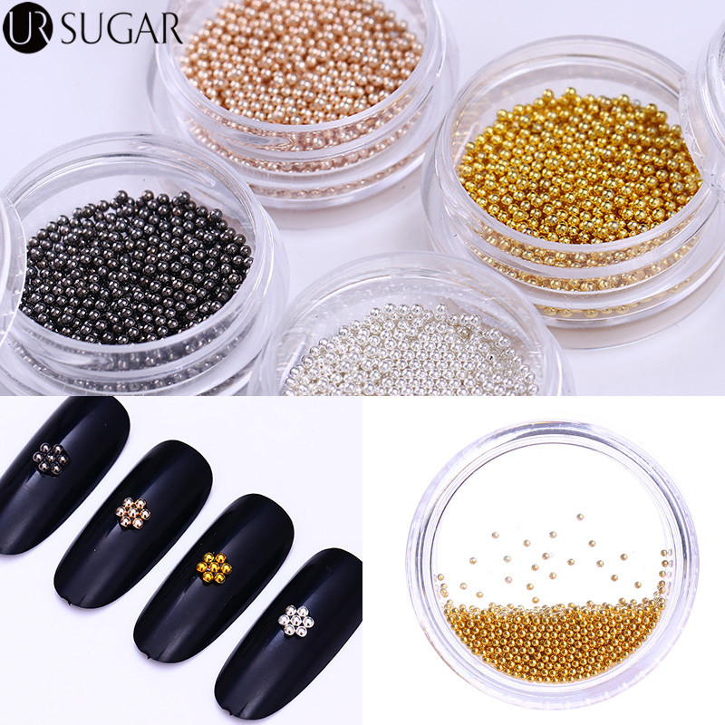 Rose Gold Silver Rhinestones Black Beads Caviar Multi-size 3D Nail Art Decoration DIY Stainless Steel UV Gel Nail Polish